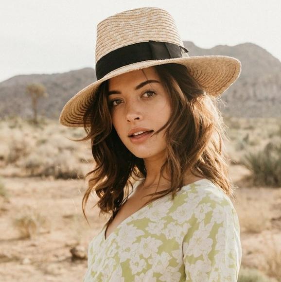 a597b36d5ece6 Brixton Accessories - New BRIXTON Joanna Straw Honey Black Hat